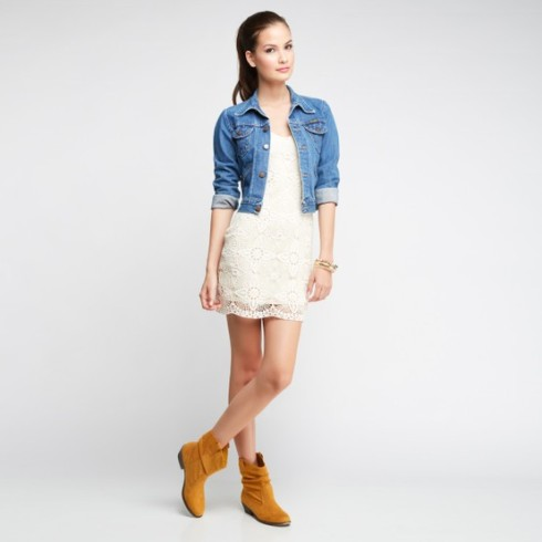 Denim Jacket with a Lace Dress