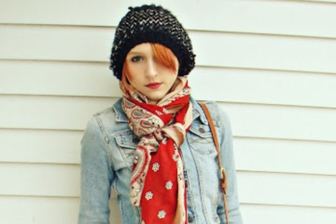 Denim Jacket with a Scarf