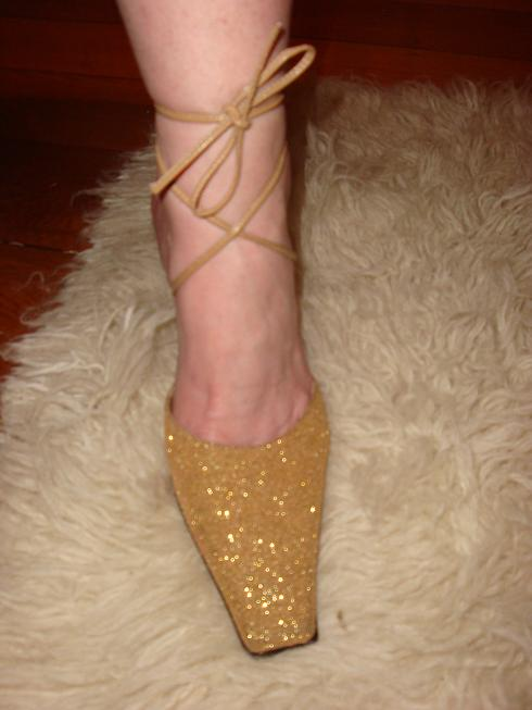 Honey Coloured Glitter Shoes