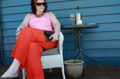Orange Country Road Palazzo Pants Look 1c