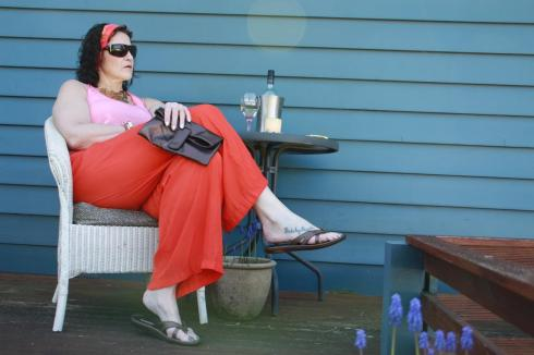 Orange Country Road Palazzo Pants Look 1b