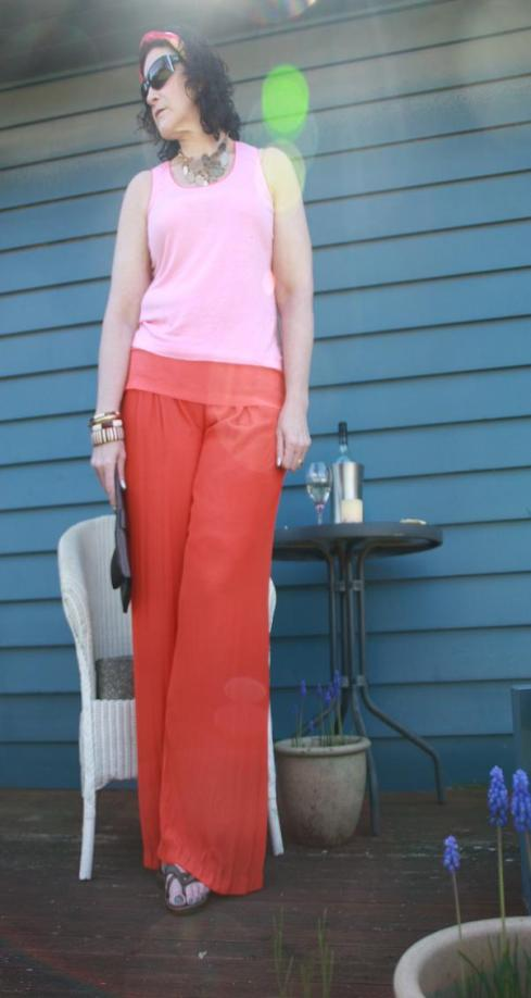 Orange Country Road Palazzo Pants Look 1a