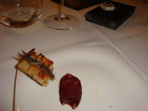 Anchovey on Tomato Bread and Chorizo - Asador Extebarri - Oct 2012