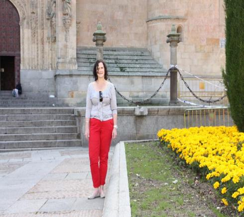 Standing outside the Cathedral - Salamanca - October 2012