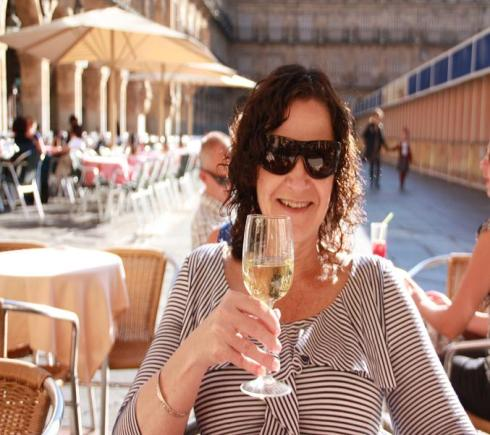 A beautiful glass of wine on a beautiful day in Salamanca