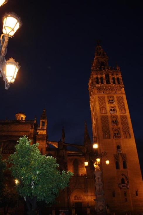 Seville Cathedral Tower at Night - October 2012