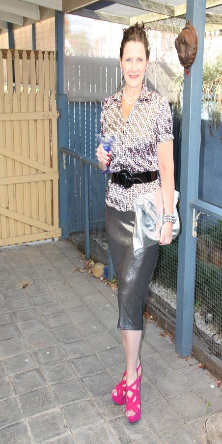 Metallic Skirt with a pop of pink