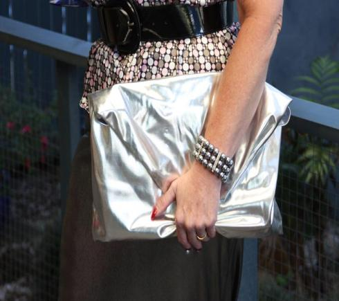 Oversized Metallic Clutch and silver pearls