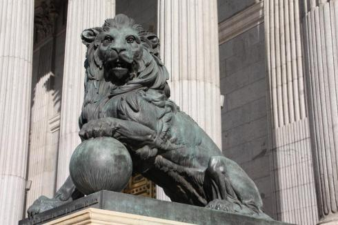 Lion statue outside the congress in Madrid - November 2012