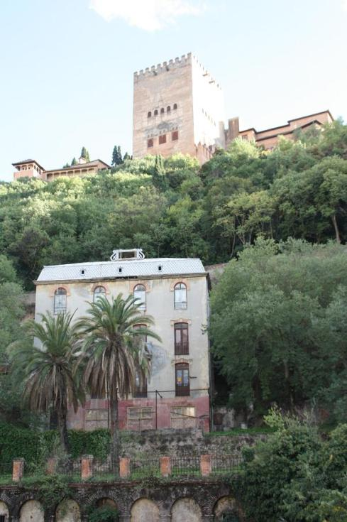 Looking to Alhambra from old town Granada