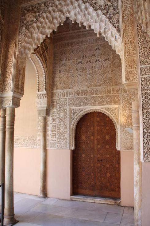 Large wood door at Alhambra Palace.