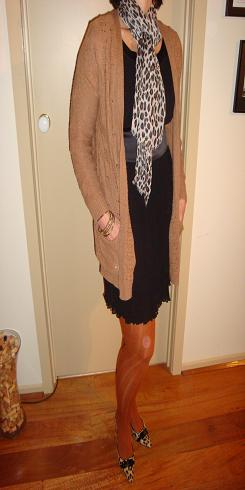 Leopard Scarf and Shoes with a Black Dress