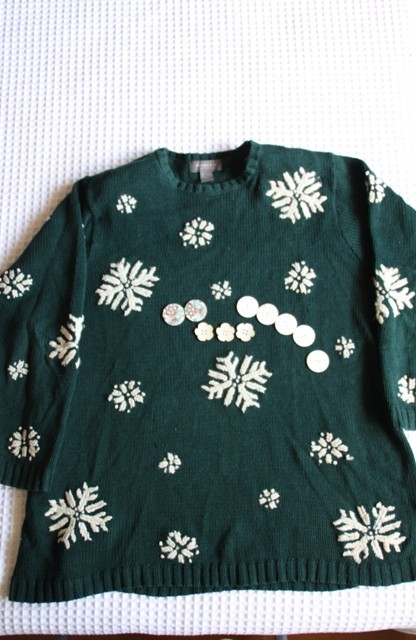 Snowflake sweater and a selection of buttons