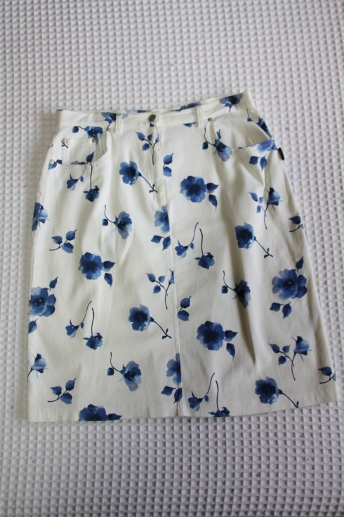 Floral White Denim Skirt