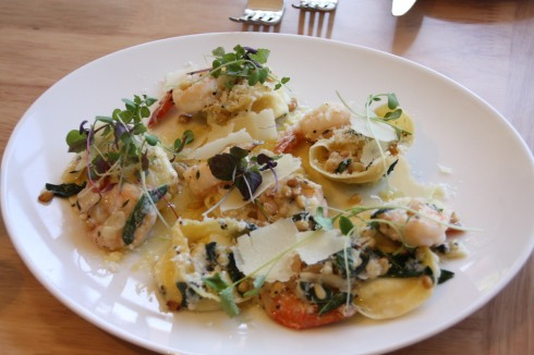 Ricotta Tortellini with Garlic Prawns
