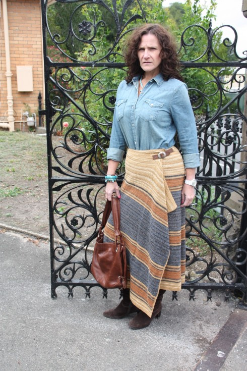 Ralph Lauren Denim Shirt and Blanket Wrap skirt