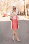 Coral Tweed Skirt