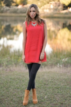 The Shift Dress with Stockings and Ankle Boots