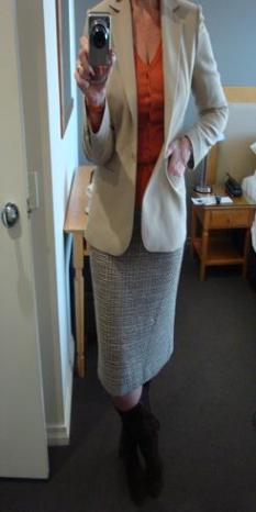 Wardrobe Essentials - Pencil Skirt and nude jacket