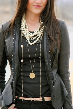 Pearls and Gold Chains with Black