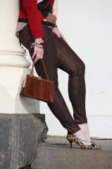 Bronze coloured pants and leopard print shoes!